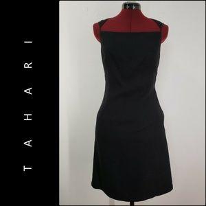 Tahari  Woman Shimmer Sheath Dress Size 8 Black